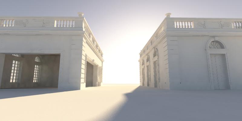 analiza jak pada cień koło budynków