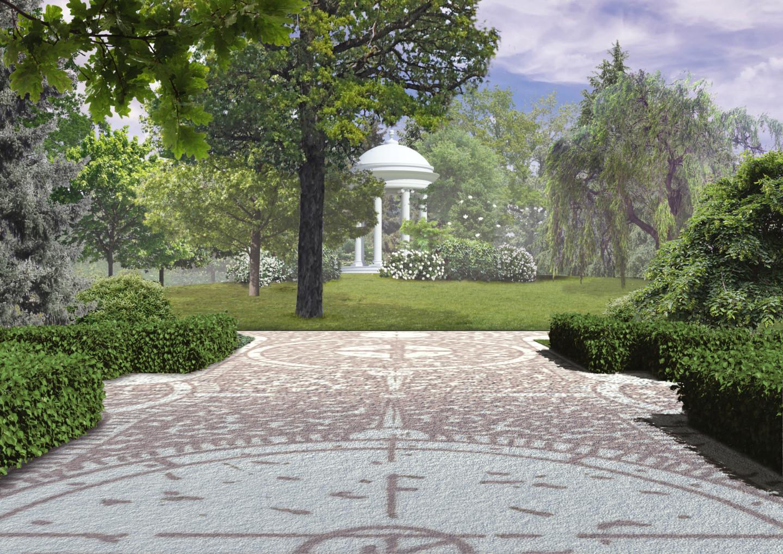 widok na altanę w parku